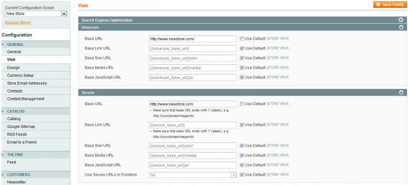 Set up the store configuration for your new Magento multi-store front